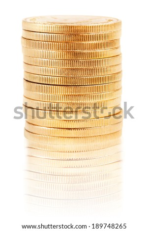 Stack of one ounce gold Krugerrands - stock photo