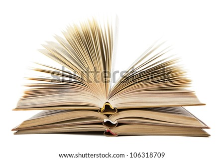 stack of open books on a white background