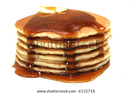 Stack of pancakes and syrup isolated on white background. - stock photo