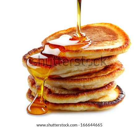 stack of pancakes isolated on white background - stock photo