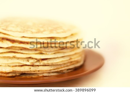stack of pancakes on plate - stock photo