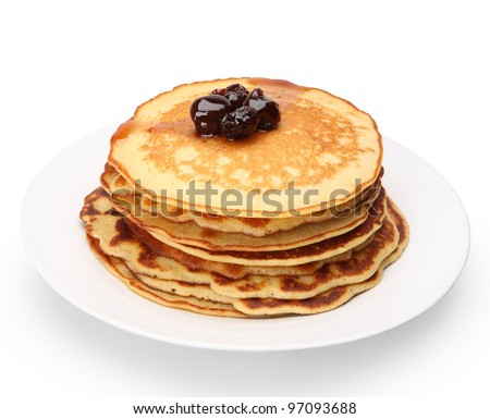 stack of pancakes with cherries jam with clipping path - stock photo