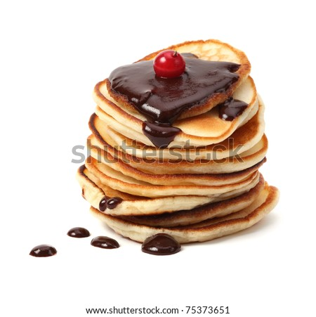 stack of pancakes with chocolate sauce - stock photo