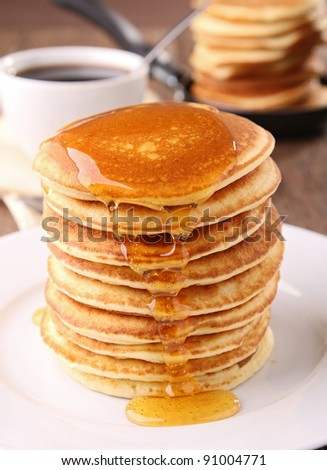 stack of pancakes with syrup - stock photo