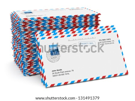 Stack of paper air mail letters isolated on white background