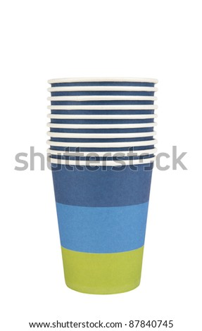 Stack of Paper Cups Cutout - stock photo