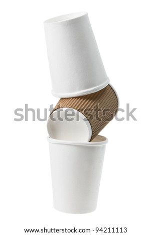 Stack of Paper Cups on White Background - stock photo