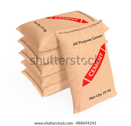 Stack of Paper Sacks Cement Bags on a white background. 3d Rendering
