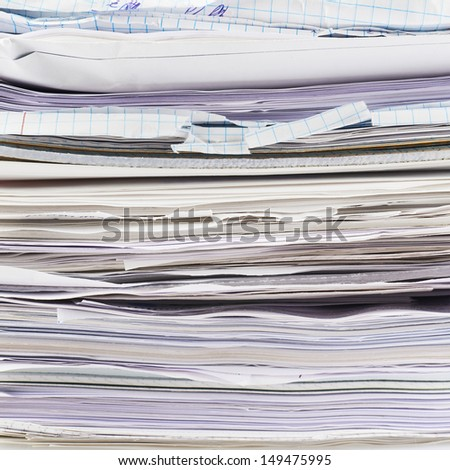 Stack of paper sheets and documents fragment as a business background - stock photo