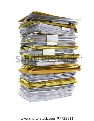stack of papers isolated on white - stock photo