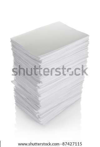 stack of papers isolated on white background - stock photo