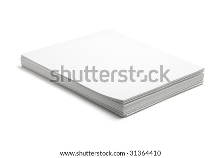 Stack of Papers on Isolated White Background - stock photo