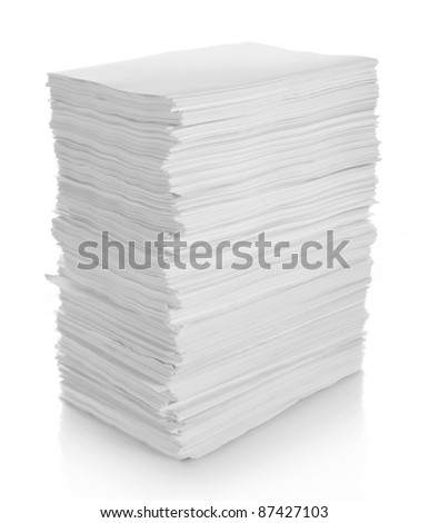 stack of papers on white background in isolated background - stock photo