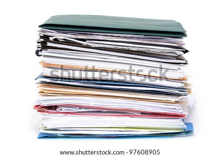 stack of paperwork and file folders - stock photo