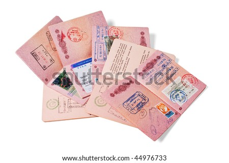 stack of passports  isolated on white - stock photo