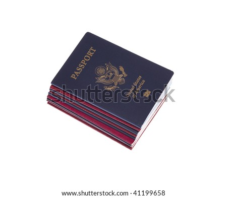 Stack of Passports on white isolated background