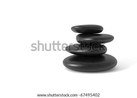 Stack of pebbles in balance. Clipping path included. Computer generated image. - stock photo