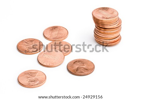 stack of pennies - stock photo