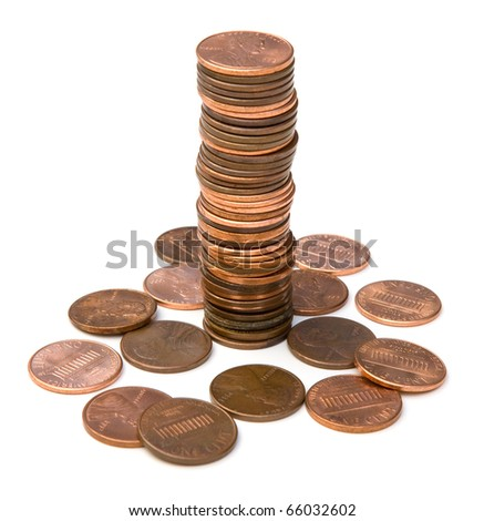 Stack of pennies isolated - stock photo
