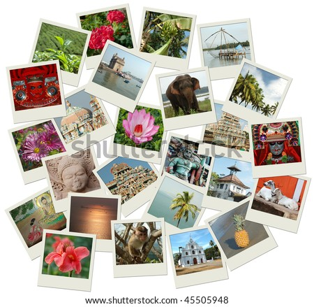 Stack of photo shots with Southern India landmarks - stock photo