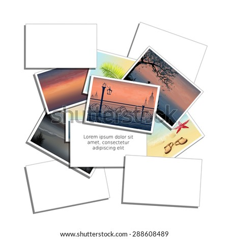 Stack of photos isolated on white background, a place for an inscription. Rasterized version - stock photo