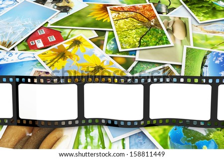 Stack of photos with blank film - stock photo