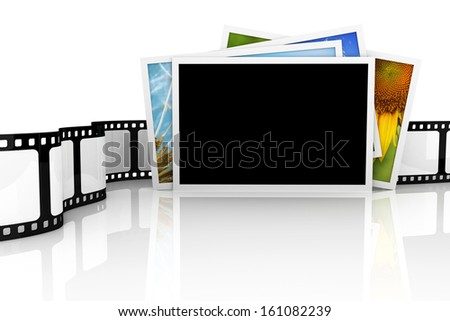 Stack of photos with film - stock photo