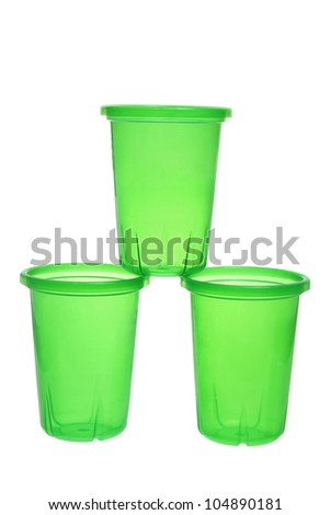 Stack of Plastic Cups on White Background