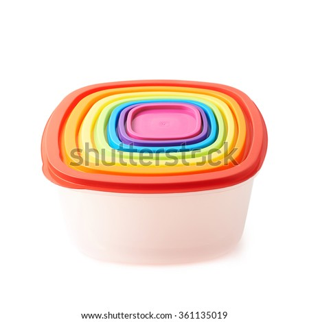 Stack of plastic food containers isolated - stock photo