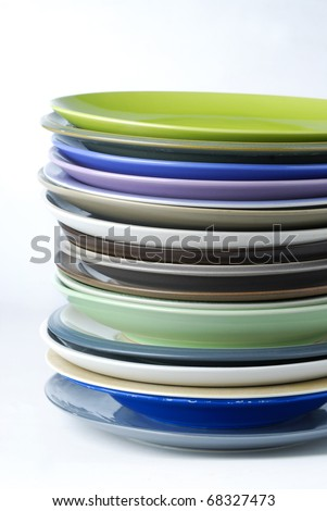 stack of plate - stock photo