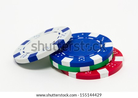 Stack of poker chips isolated on white background  - stock photo