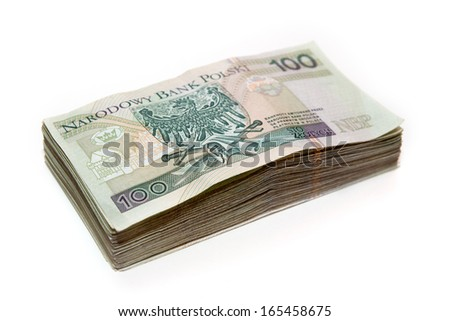 stack of polish banknotes - 100 PLN - on white background - stock photo
