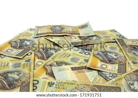 stack of polish zloty banknotes with white background
