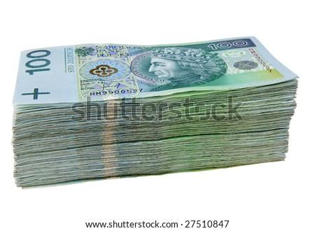 Stack of polish zloty isolated on white background - stock photo