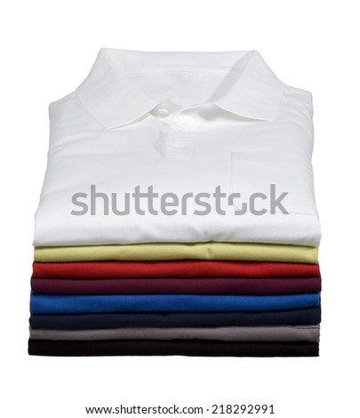 Stack of Polo Shirts - stock photo