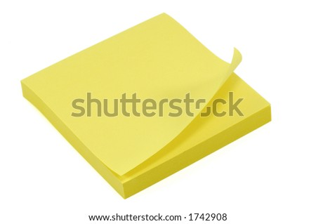 Stack of Post-It Notes. Isolated on White with Clipping Path - stock photo