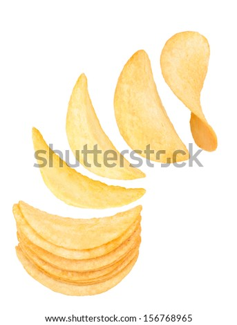 Stack of potato chips isolated on a white background - stock photo