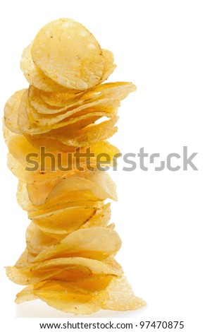 Stack of potato chips on a white background - stock photo