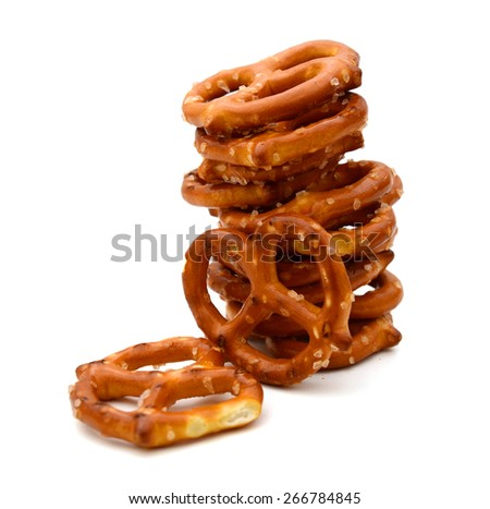 stack of pretzels on white background  - stock photo