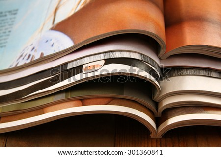stack of printed magazines  - stock photo