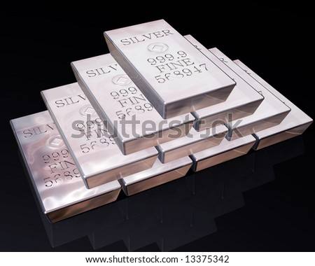 stack of pure silver bars on a reflective surface. - stock photo