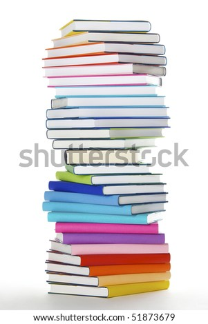 Stack of rainbow colored real books in spiral formation, side view, isolated on white background - stock photo