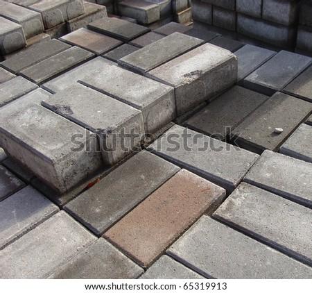 stack of rectangular pavement stones - stock photo