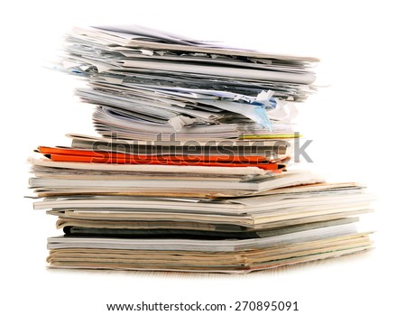 Stack of recycling paper isolated on white.