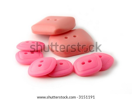 Stack of red and rose rectangle buttons