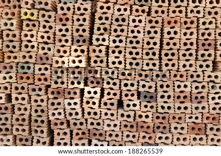 stack of red brick - stock photo