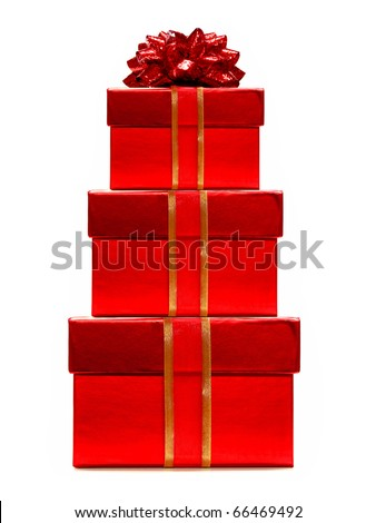 Stack of red Christmas gifts with ribbon and bow