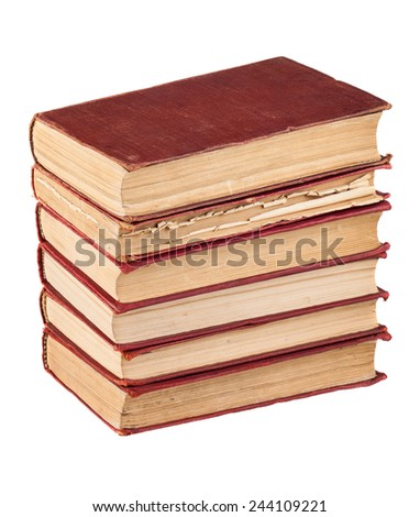 Stack of red cover books isolated on white background - stock photo