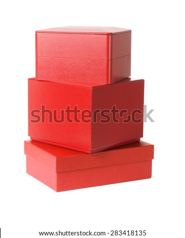 Stack of Red Gift Boxes on White Background