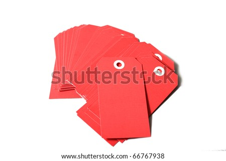 stack of red price tags or labels